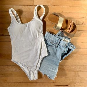 White Ribbed Aerie swimsuit